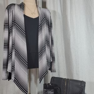 Black and white striped long sleeve cover up